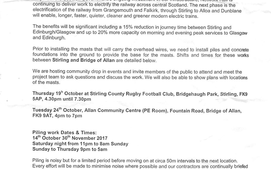 Network Rail Piling Drop In Events