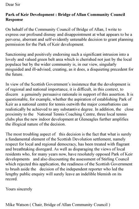 Response To Scottish Government Re Park Of Keir