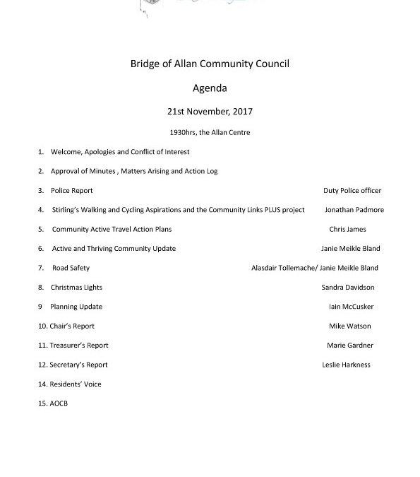 November Community Council Meeting – 21/11/17