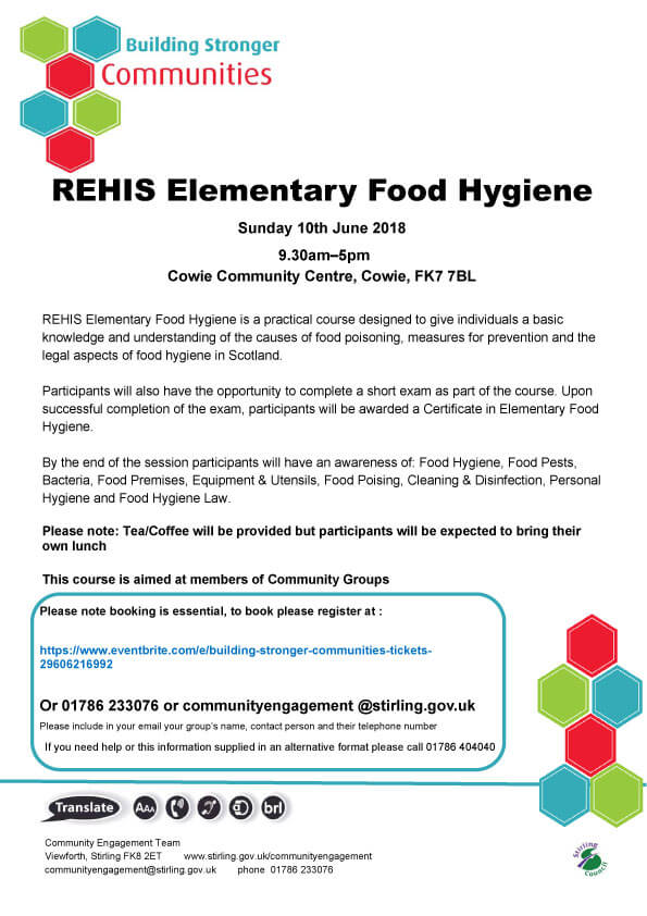 Elementary Food Hygiene Course Bridge Of Allan Community