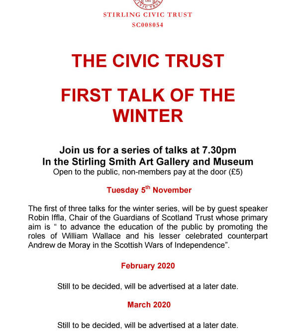 Upcoming Stirling Civic Trust Talk