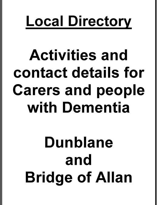 Activities and Contact Details for Carers and People with Dementia