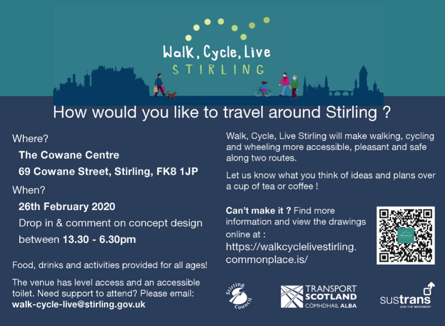 Walk, Cycle, Live Stirling – Concept Design Public Drop-In Event